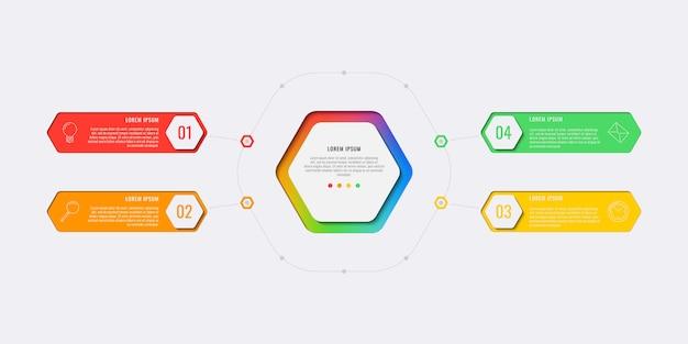 Modèle d'infographie de mise en page de conception simple en quatre étapes avec des éléments hexagonaux.