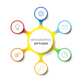 Modèle d'infographie de mise en page de conception simple six options.