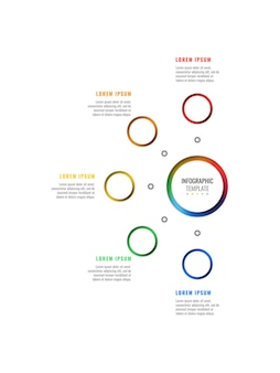 Modèle d'infographie de mise en page de conception verticale en cinq étapes avec des éléments réalistes 3d ronds