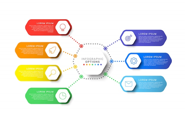 Modèle d'infographie mise en page simple de sept étapes avec éléments hexagonaux