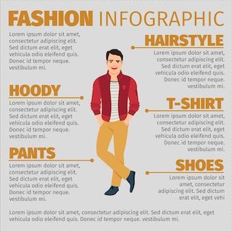 Modèle d'infographie de mode avec étudiant heureux