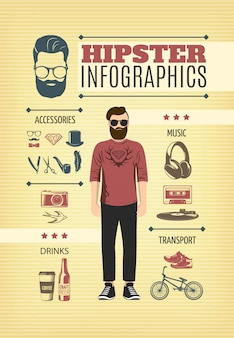 Modèle d'infographie de mode hipster léger