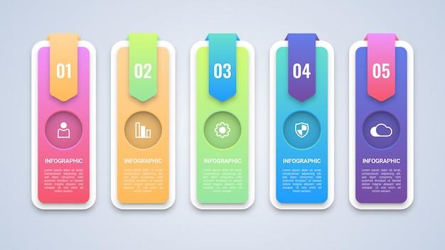 Modèle d'infographie moderne en 5 étapes