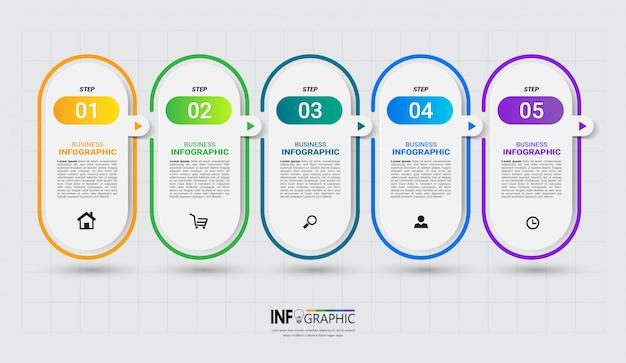 Modèle d'infographie moderne 5 étapes