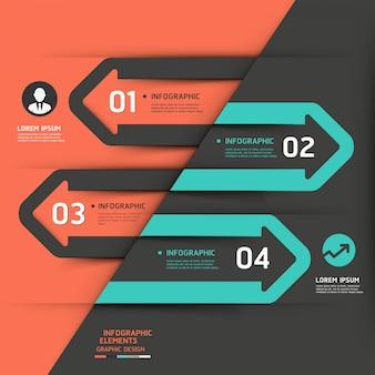 Modèle d'infographie moderne d'affaires flèche.