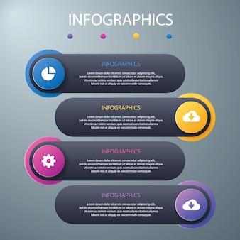 Modèle infographie moderne arrière-plans colorés