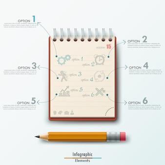 Modèle d'infographie moderne avec le bloc-notes et un crayon