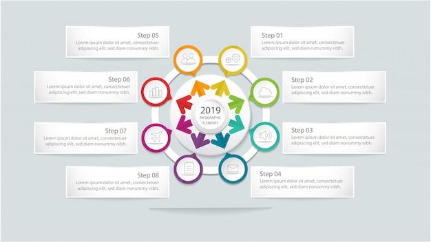 Modèle d'infographie moderne avec cercle et étapes ou option pour la mise en page du flux de travail, diagramme, options de nombre, options d'intensification