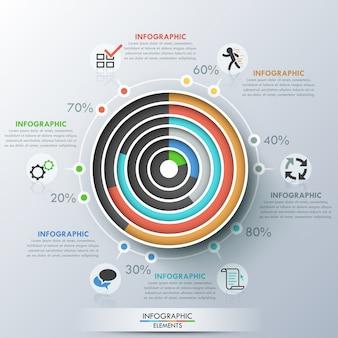 Modèle d'infographie moderne avec des cercles concentriques de papier