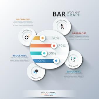 Modèle d'infographie moderne avec des cercles de papier
