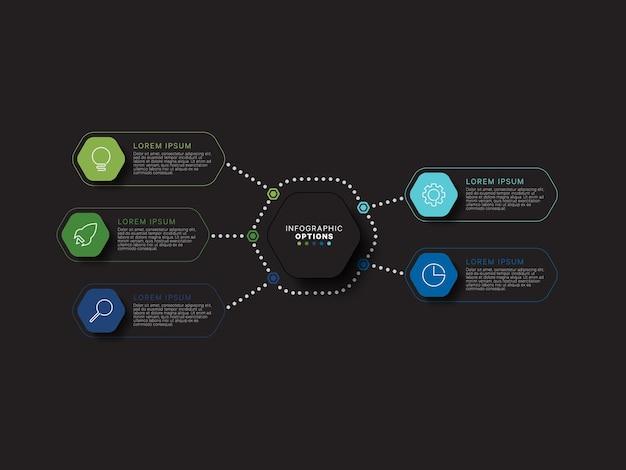 Modèle d'infographie moderne avec cinq éléments hexagonaux multicolores sur fond noir
