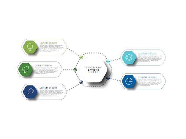 Modèle d'infographie moderne avec des éléments hexagonaux