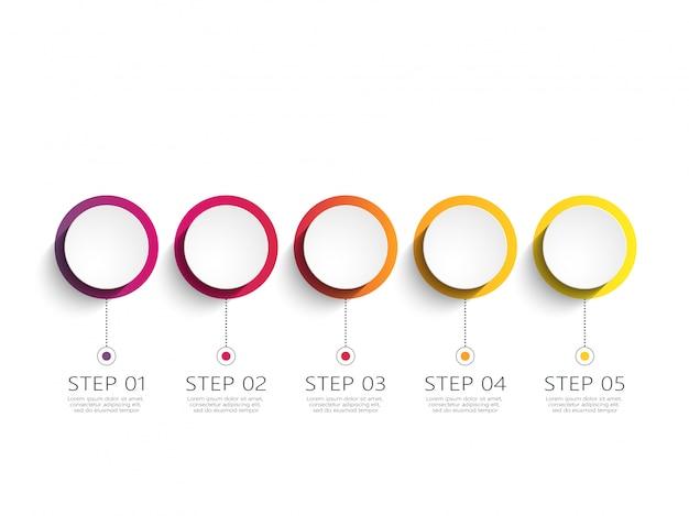 Modèle d'infographie moderne avec étapes