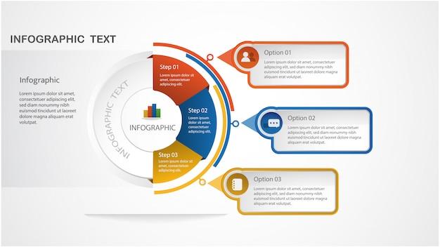 Modèle d'infographie moderne avec forme de cercle et étapes de mise en page de flux de travail, diagramme, options de nombre, options de progression