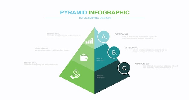 Modèle d'infographie moderne illustration stock pyramide triangle forme trois objets infographie