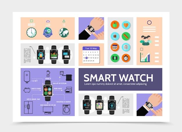 Modèle d'infographie moderne de montre intelligente plate