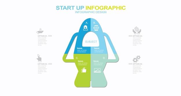 Modèle d'infographie moderne stock illustration infographie numéro 4 cercle vecteur connexion