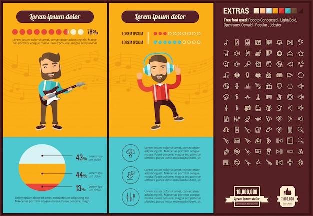 Modèle d'infographie musique design plat et ensemble d'icônes