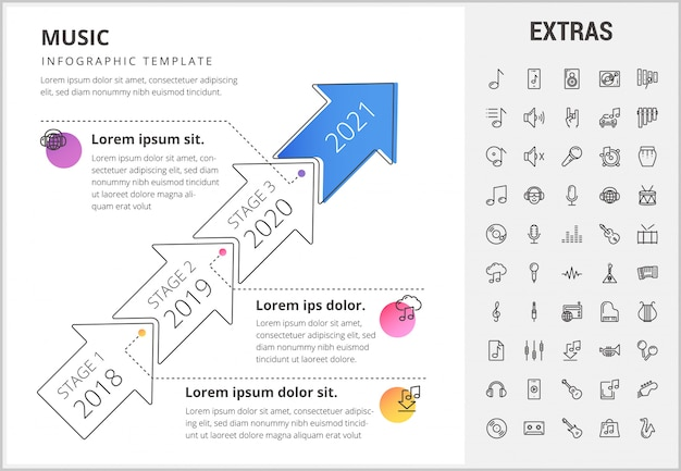 Modèle d'infographie de la musique, des éléments et des icônes