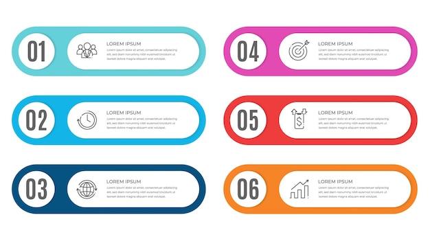 Modèle d'infographie avec numéros 6 options