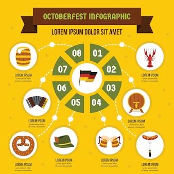 Modèle d'infographie octoberfest, style plat