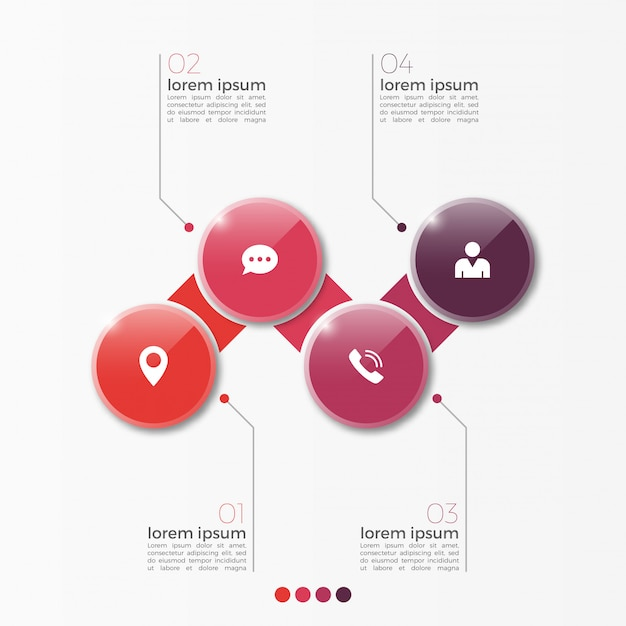 Modèle d'infographie option 4 vector avec cercles pour la présentation