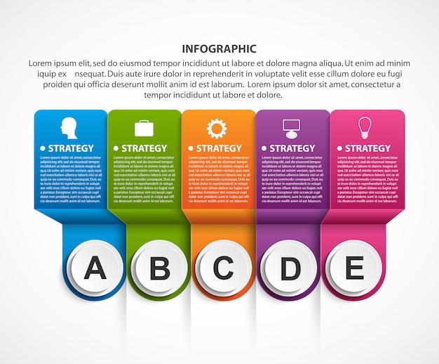Modèle d'infographie options abstraite avec des rubans.