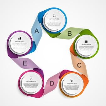 Modèle d'infographie d'options abstraites infographie