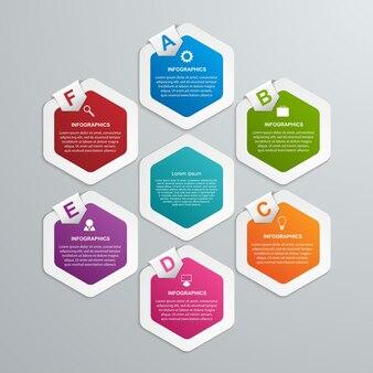 Modèle d'infographie sur les options hexagonales