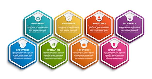 Modèle d'infographie options hexagone