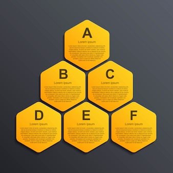 Modèle d'infographie d'options hexagone.