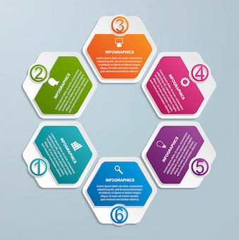 Modèle d'infographie d'options hexagone.