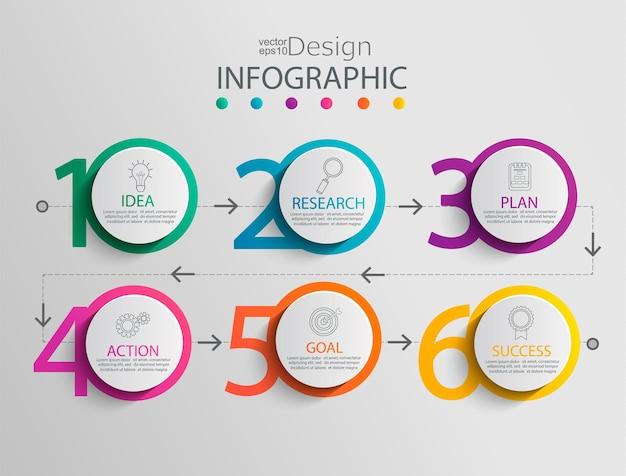 Modèle d'infographie papier avec 6 options de cercle pour la présentation, la visualisation des données. diagramme de processus métier.diagramme avec six étapes vers le succès.pour le contenu, organigramme, flux de travail.illustration vectorielle