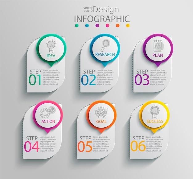 Modèle d'infographie papier avec 6 options pour la présentation et la visualisation des données. diagramme de processus métier.diagramme avec six étapes pour réussir.pour le contenu, l'organigramme, le flux de travail.illustration vectorielle