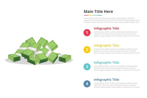 Modèle d'infographie papier argent comptant avec quatre points