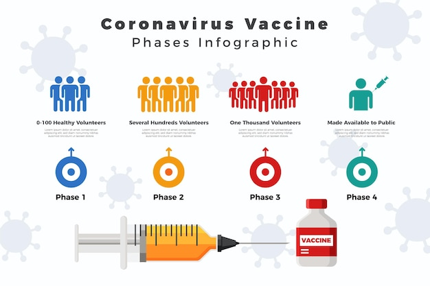 Modèle D'infographie Des Phases De Vaccin Plat Contre Le Coronavirus Vecteur Premium