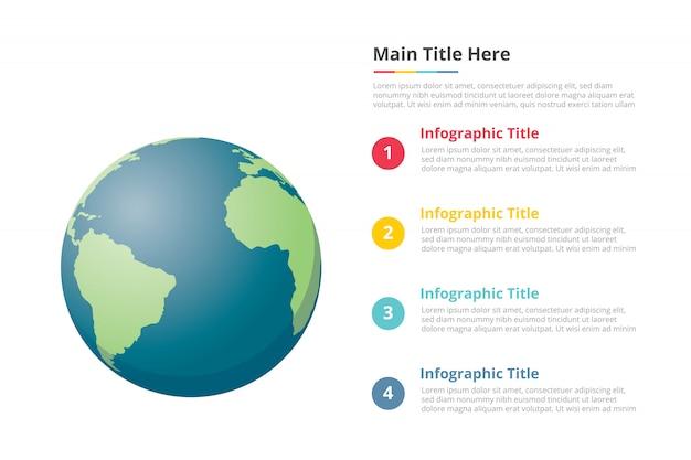 Modèle d'infographie planète terre avec 4 points de description de l'espace libre