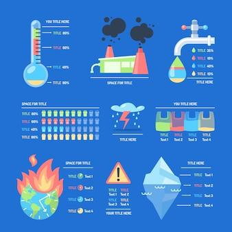 Modèle d'infographie plat sur le changement climatique