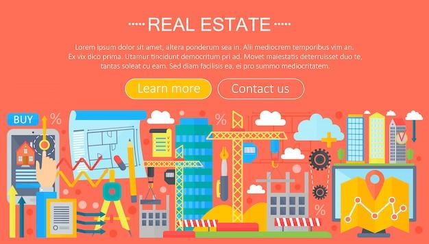 Modèle d'infographie plat immobilier