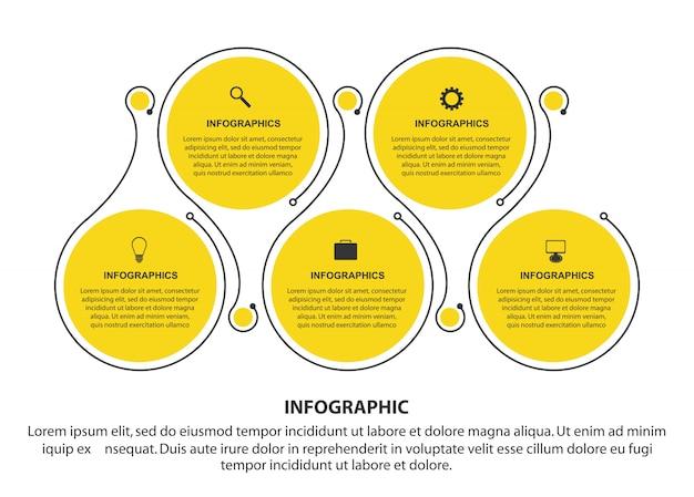 Modèle d'infographie plat.