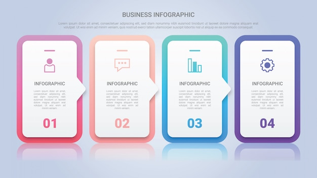 Modèle d'infographie pour entreprise avec une étiquette multicolore en quatre étapes