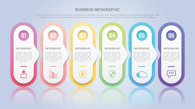 Modèle d'infographie pour entreprise avec une étiquette multicolore en six étapes