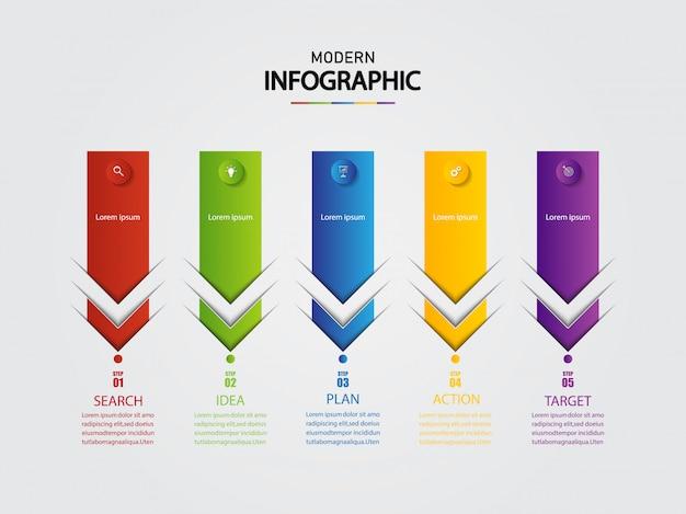 Modèle d'infographie pour les entreprises avec 5 options, présentation de données d'entreprise.