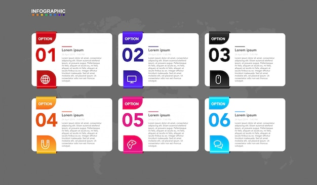 Modèle d'infographie pour le flux de travail business étape 6 étapes avec symbole et article. bannière d'infographie premium définie dans le vecteur