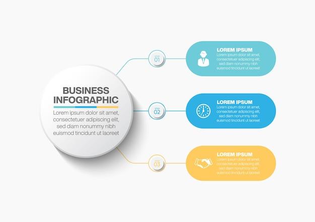 Modèle d'infographie de présentation business circle avec 3 options