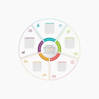 Modèle d'infographie de présentation business circle avec 5 options