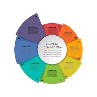 Modèle d'infographie de présentation business circle avec 8 options