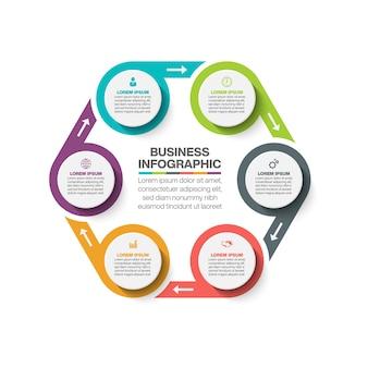 Modèle d'infographie de présentation business circle avec options.