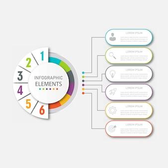 Modèle d'infographie de présentation commerciale avec 6 options