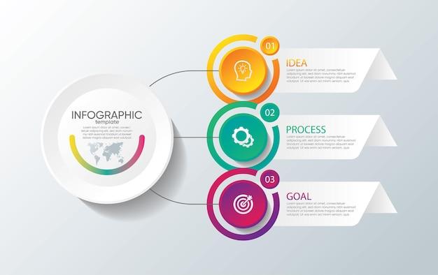 Modèle d'infographie de présentation entreprise avec 3 étapes
